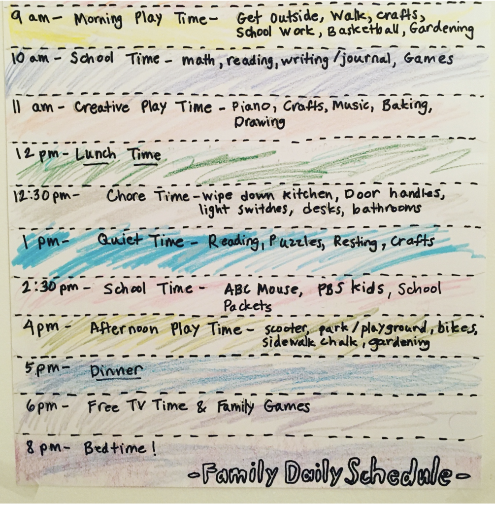Our family schedule in 2020